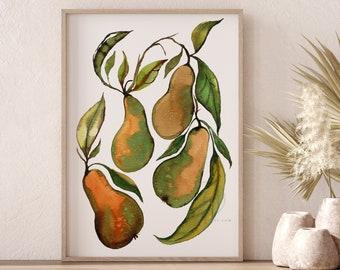 Pears Watercolor Print Fruit Art