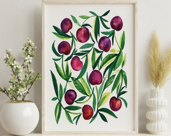 Large Cherry Fruit Art Print