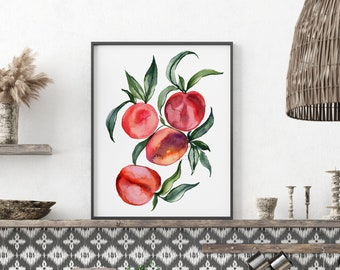 Large Peaches Watercolor Print
