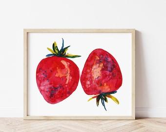 Strawberries, Watercolor Print, Modern Art by HippieHoppy