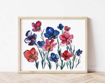 Flowers, Watercolor Print, Modern Art by HippieHoppy