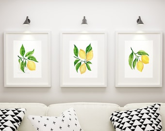 Watercolor Lemon Wall Art, Kitchen Lemon Prints,  Lemon Wall Decor, Watercolor Lemon Pictures, Lemon Artwork Set of 3