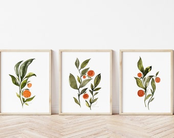 Oranges Watercolor Prints set of 3 by hippiehoppy