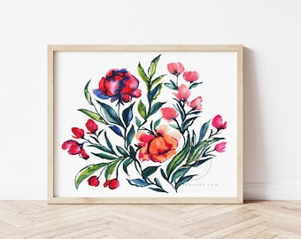 Abstract Flower Watercolor Print by HippieHoppy