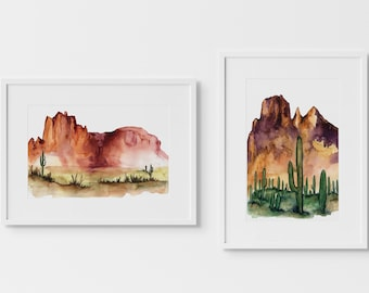 Desert Watercolor Art Prints Set of 2 by HippieHoppy