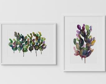 Cactus Watercolor Art Prints Set of 2 by HippieHoppy
