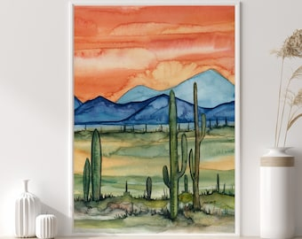 Arizona Desert Watercolor Print