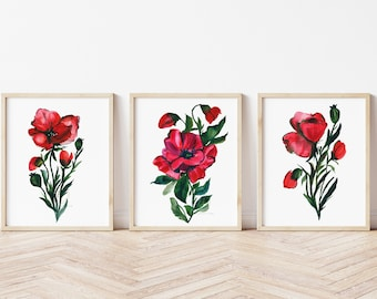Large Poppies Watercolor Print set of 3 by hippiehoppy