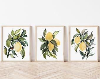 Lemon Watercolor Prints set of 3 by hippiehoppy