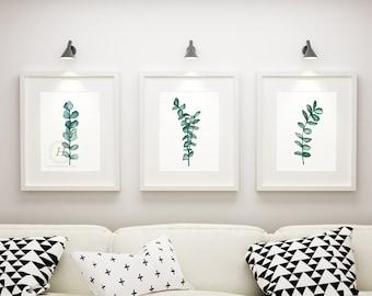 Set of 3 Watercolor Botanical Prints, Eucalyptus Wall Art, Eucalyptus Collection, Bedroom Botanical Prints