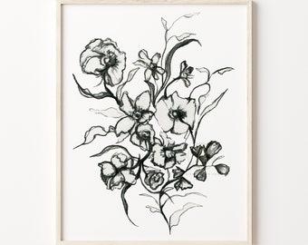 Flower Drawing Print Line Art