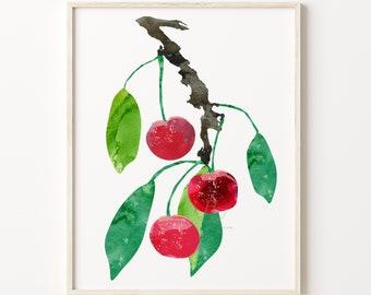 Cherry Artwork, Watercolor Print, Kitchen Art