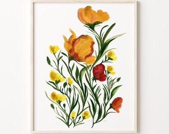 Large Flowers Watercolor Print