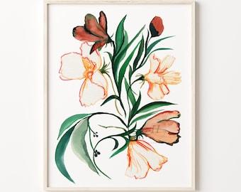 Spring Flowers Watercolor Print