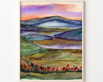 Mountains and Poppies Art Print