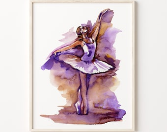 Ballerina Watercolor Print, ballerina painting, wall art, girls room décor