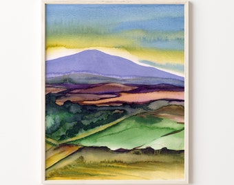 Farmland Print, Watercolor Landscape, Nature Inspired Watercolor, Neutral Landscape Painting, Abstract Landscape