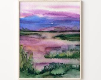 Lakeside Sunset Modern Art Print