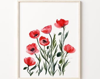 Large Poppy Wall Art Print