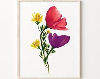 Plant Wall Art, Flowers Art Print, Wildflower Prints, Botanical Art, Floral Print, Plant Prints, Botanical Poster Décor