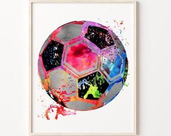 Soccer Ball Watercolor Print Football Soccer