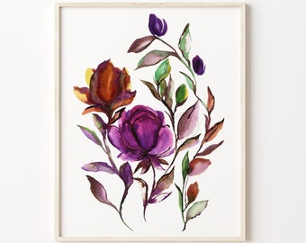 Flower Watercolor Print by HippieHoppy