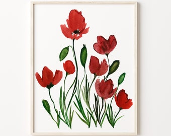 Large Poppy Print - Poppies Print - Botanical Print - Poppies Wall Art - Flower Art - Watercolor Poppy Room Décor - Home Décor - Home Office