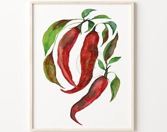 Red Jalapeno Pepper Watercolor Print