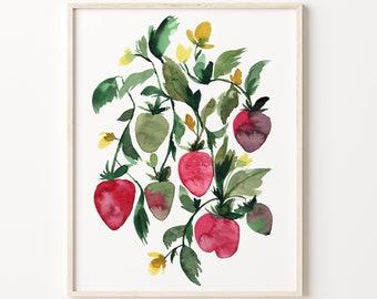Strawberry Watercolor Print