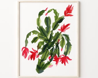 Christmas Cactus Watercolor Print