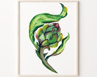 Artichoke Watercolor Art Print