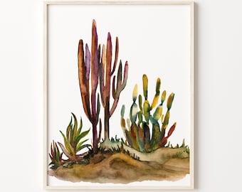 Desert Watercolor Print, Cactus Art