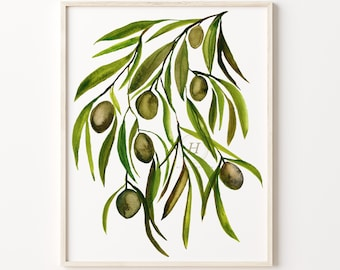 Large Olive Branch Print, Botanical Print, Plant Poster, Branches Print, Botanical, Floral Wall Décor, Botany Print, Vertical Wall Art