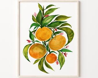 Orange Artwork Watercolor Painting Print