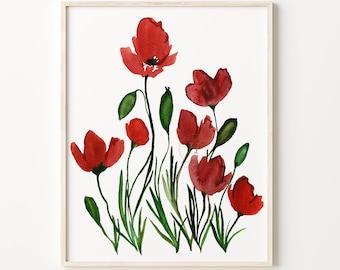 Red Poppy Watercolor Art Print