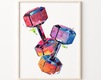 Dumbbell Free Weight Gym Wall Art Watercolor Print