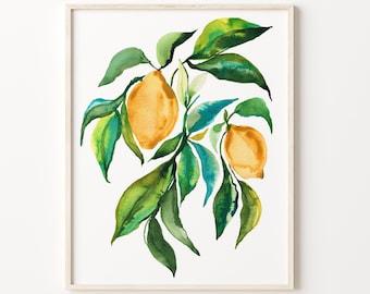 Lemon Watercolor Print Fruit Art