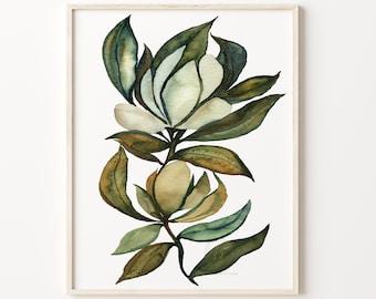 Magnolia Watercolor Print, Botanical Art by HippieHoppy