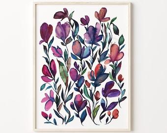 Flower Art Print, Watercolor Painting