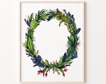 Christmas Cactus Wreath Art Print Watercolor Painting