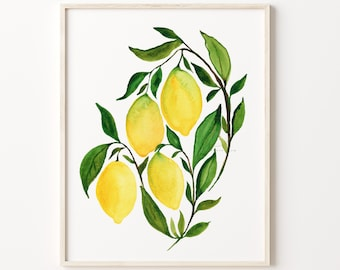 Lemons Artwork, Watercolor Painting Print