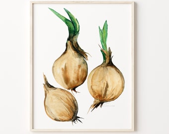 Onions Watercolor Print