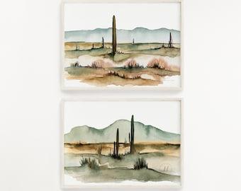 Large Desert Watercolor Art Prints Set of 2 by HippieHoppy