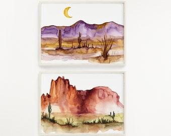 Arizona State Set of 2 Wall Art Watercolor Print Sets