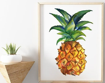 Pineapple Watercolor Print Kitchen Art by HippieHoppy
