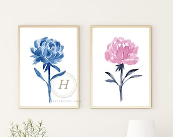 Blue Peony Flowers Set of 2