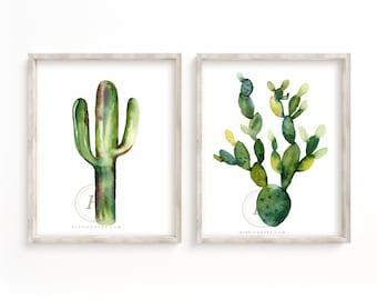Cactus Print Set of 2, Watercolor Wall Art