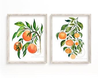 Orange Watercolor Art Print set of 2