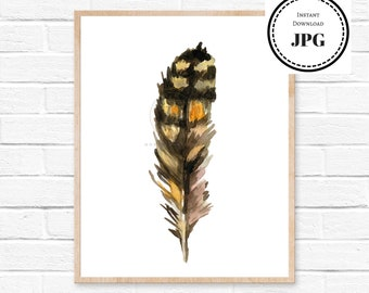 Feather Watercolor Art Print Feather Brown Watercolour Poster Kitchen Decor Nursery Art Modern Mens Gift Wall Decor Feathers Wall Art Boho