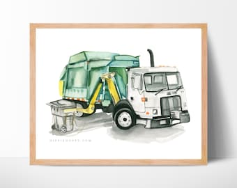 Garbage truck side loader print, Trash truck art